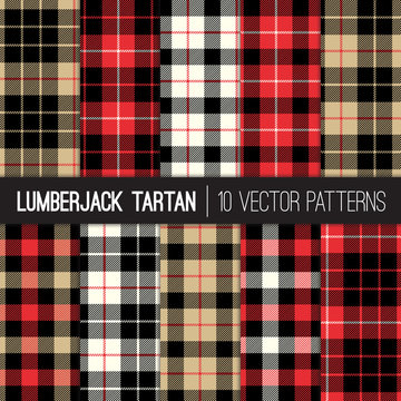 Lumberjack Tartan Plaid Vector Seamless Patterns in Red, Black, Camel and White. Trendy Hipster Style Backgrounds. Tile Swatches made with Global Colors