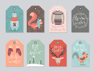Wall Mural - Christmas tags set, hand drawn style.