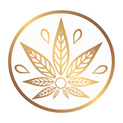 Cannabis gold logo. Hemp Line icons. Stylized leaf cannabis on a white background. Sign T-shirts for design, creating corporate identity and promotional products.