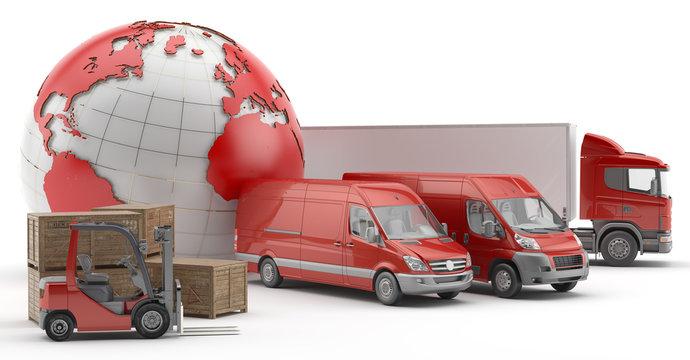 Transporte urgente de mercancías por carretera. Camión, carretilla y furgonetas rojas con mapamundi rojo a la izquierda.