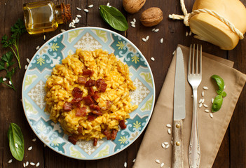 Risotto with a pumpkin and bacon