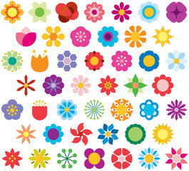 FLOWERS color flat icons