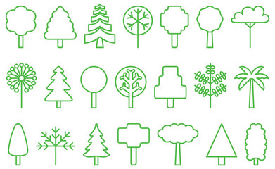 TREES green line icons