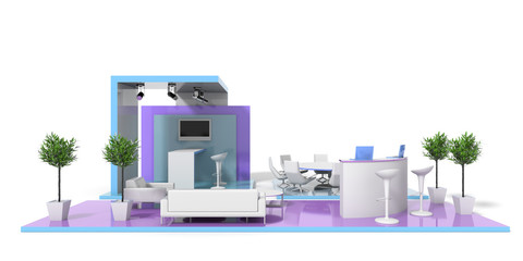 Exhibition stand on white 3d render