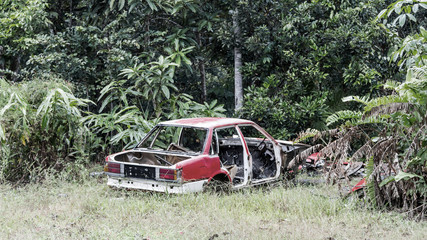 Abandoned destroyed car