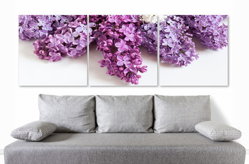 Floral motif canvas over modern couch, Lilac flowers posters collage for interior decor.