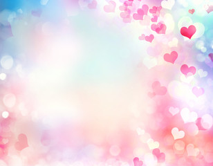 Valentine blurred hearts background.