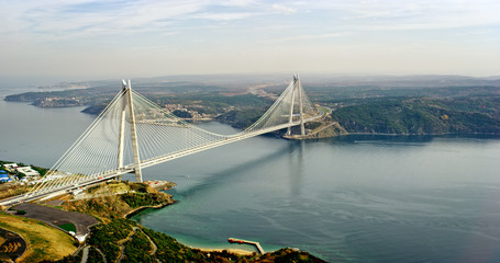 New bosphorus bridge of Istanbul, Turkey. Aerial view of Yavuz Sultan Selim Bridge.