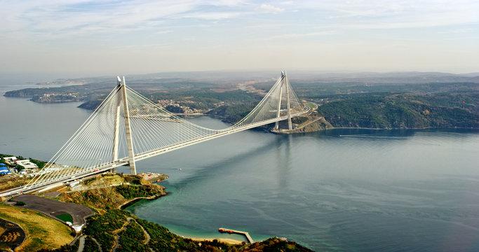 New bosphorus bridge of Istanbul, Turkey. Aerial view of Yavuz Sultan Selim Bridge.