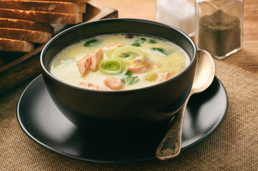 Chowder (fish soup) with rainbow trout.