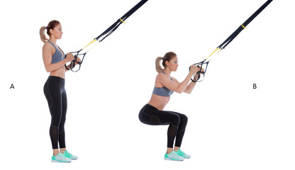 Suspension cable squat exercise