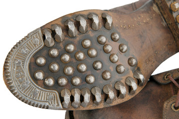 Sole of old military shoes with nails