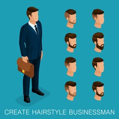 Popular isometric qualitative study, a set of men's hairstyles, hipster style. Fashion Styling, beard, mustache. Stylish modern young businessman. Vector illustration