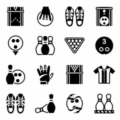 Vector Bowling icon set