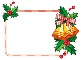 Horizontal frame with holly berry and jingle bells. Copy space.