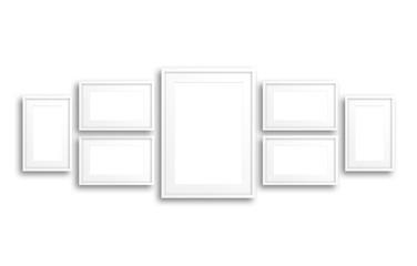Blank photo frames collage,  Interior decor mockup