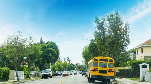 school bus in a Los Angeles neighborhood