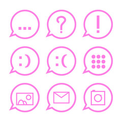 Pink communication icons in bubbles
