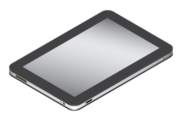 Realistic tablet in left side isometry isolated on a white background.