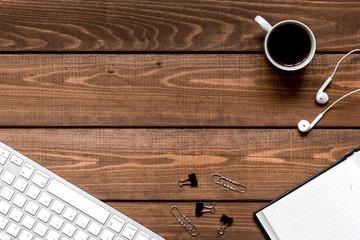 male work desktop wooden top view