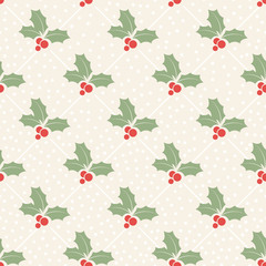 Christmas seamless pattern with berries