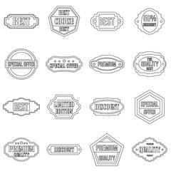 Golden labels icons set. Outline illustration of 16 golden labels vector icons for web