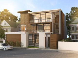 3d rendering nice modern style wood house in beautiful village in summer