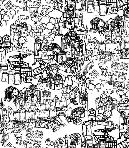 Line Art Village : Quot village medieval line art imagens e fotos de stock