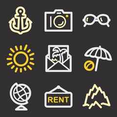 Vacation and transport vector mobile icons, tour infographics sy