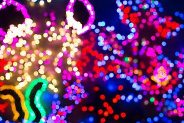 Bokeh or defocused christmas lights background..