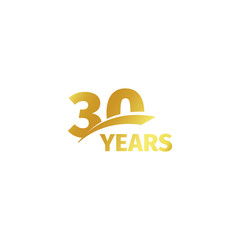Isolated abstract golden 30th anniversary logo on white background. 30 number logotype. Thirty years jubilee celebration icon. Thirtieth birthday emblem. Vector illustration.