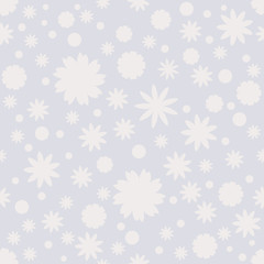 Pastel seamless pattern with gray dots, stars, snowflakes, flowers on blue background. Winter pastel background, wrapping paper. Vector illustration.