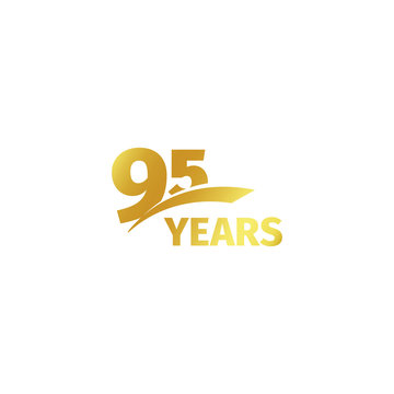 Isolated abstract golden 95th anniversary logo on white background. 95 number logotype. Ninty-five years jubilee celebration icon. Birthday emblem. Vector illustration.
