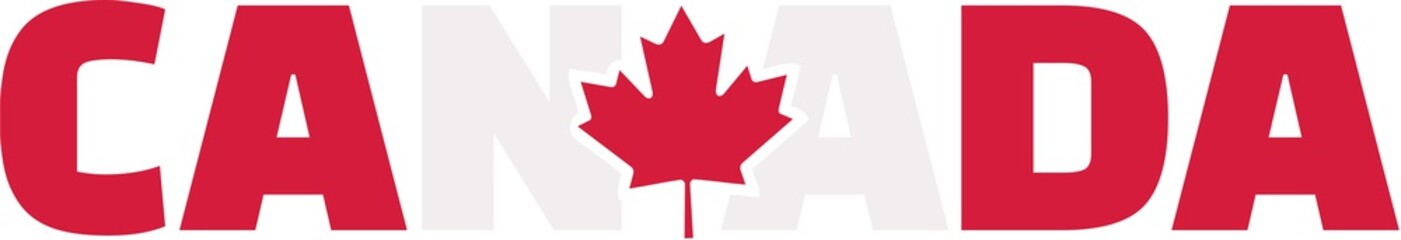Canada word with flag