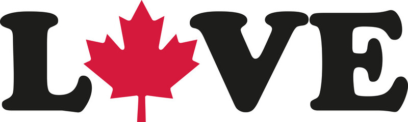 Love word with Canadian maple leaf