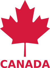 Maple leaf with canada word