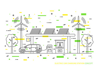 Electric car charging station vector illustration. Electric (hybrid) automobile charging at the eco power station with solar panels and wind turbines creative concept.