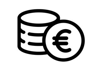 Money. Line Icon Vector. Payment system.  Coins and euro Sign isolated on white background.  Flat design style.