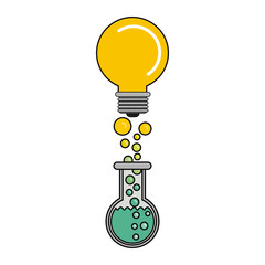 Light bulb and flask icon. Big idea creativity solution and imagination theme. Isolated design. Vector illustration