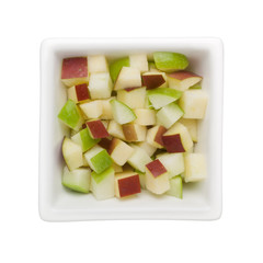 Diced green and red apple