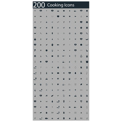 set of 200 cooking icons