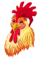 The emotional version of the character - the rooster laughs. Vector illustration.