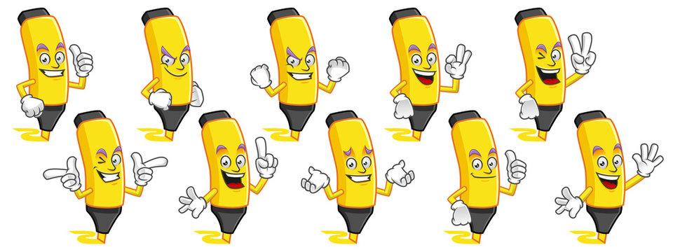 Highlighter mascot vector pack, Highlighter character set, vector of Marker