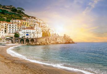 beautiful landscape of amalfi coast mediterranean sea south ital