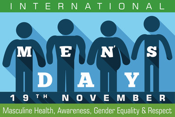 Different Masculine Silhouettes Commemorating International Men's Day, Vector Illustration