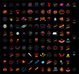set of firework icons on black background