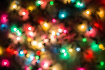 Multicolored defocused bokeh blurry lights