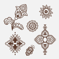 Mhendi. Henna tattoo doodle vector elements on white background