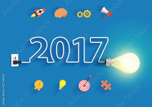 Creative Light Bulb Idea With 2017 New Year Design Inspiration Business Plan Marketing Strategy