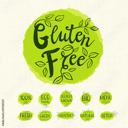 Gluten free logo, lettering design, calligraphy logotype
